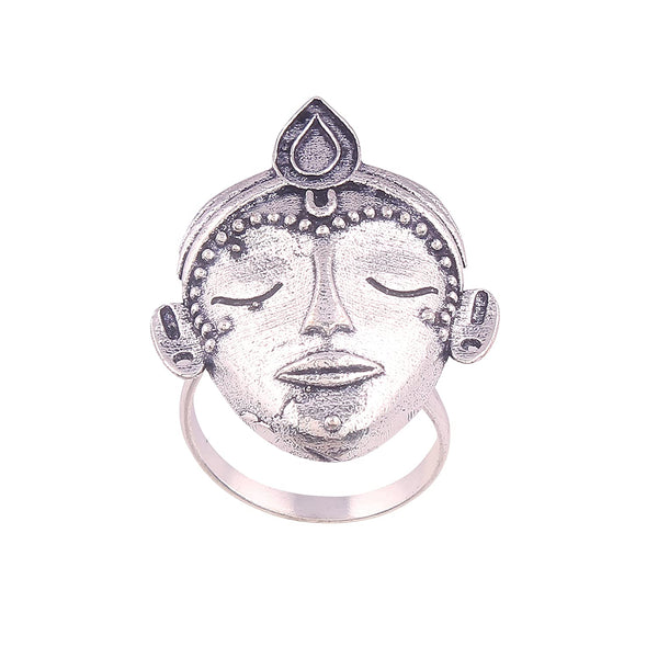 I Jewels Silver Oxidized Adjustable Ring for Women ( FL23)