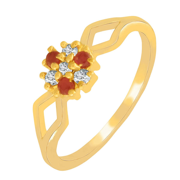 I Jewels Gold Plated  CZ Solitaire Ring for Women ( FL48)