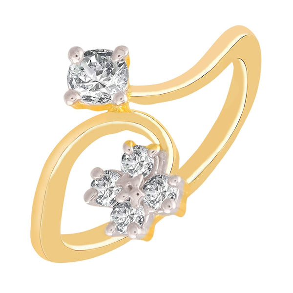 I Jewels Gold Plated CZ Solitaire Ring for Women ( FL49)
