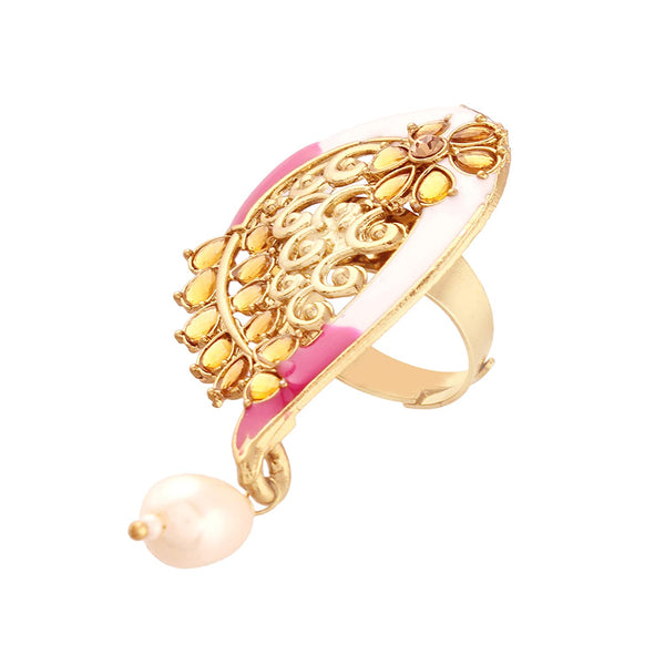 I Jewels Gold Plated Traditional Enamelled Kundan & Pearl Finger Ring for Women ( FL58Pi)