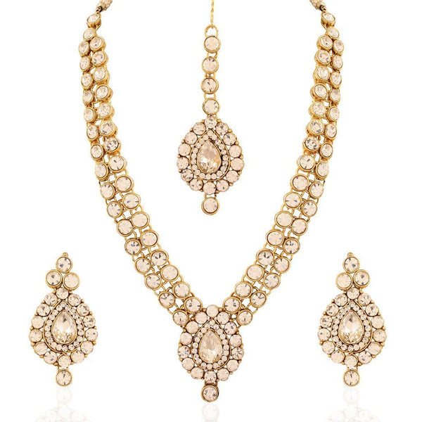 I Jewels Traditional Gold Plated Jewellery Set with Maang Tikka for Women ( IJ244W)