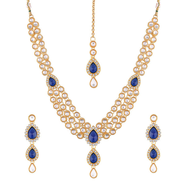 I Jewels Traditional Gold Plated Kundan Look Stone Studded Necklace Maang Tikka with Earrings Jewellery Set for Women ( IJ315Bl)