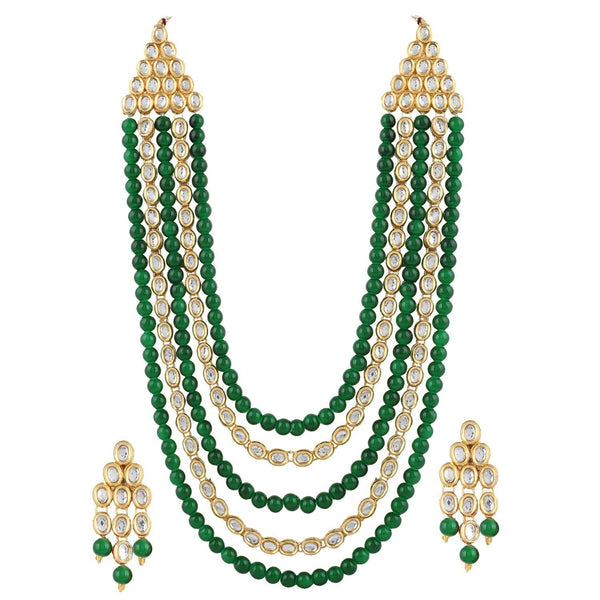 I Jewels Gold Plated Kundan & Beads Multi-Strand Necklace Set with Earrings For Women (IJ318G)
