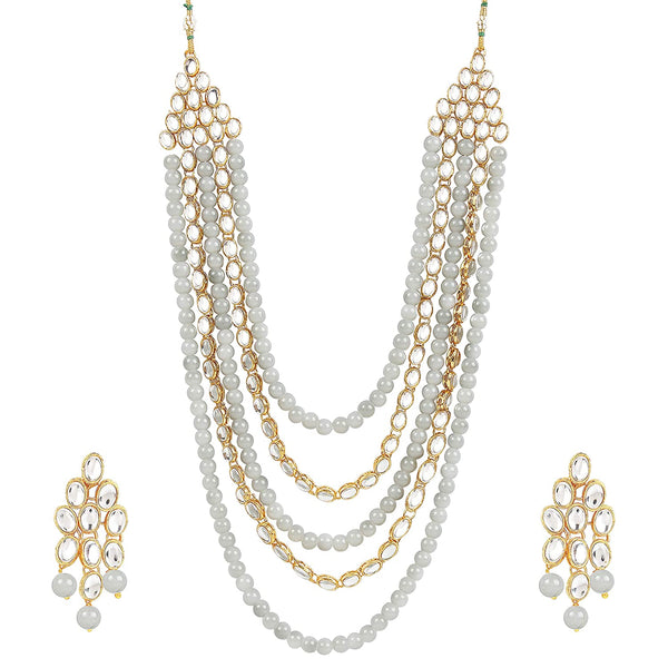 I Jewels Gold Plated Kundan & Beads Multi-Strand Necklace Set with Earrings For Women (IJ318Gr)
