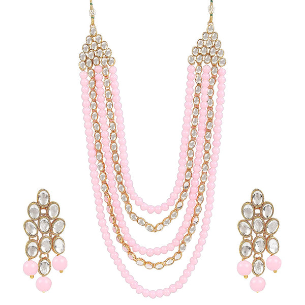 I Jewels Gold Plated Kundan & Beads Multi-Strand Necklace Set with Earrings For Women (IJ318Pe)