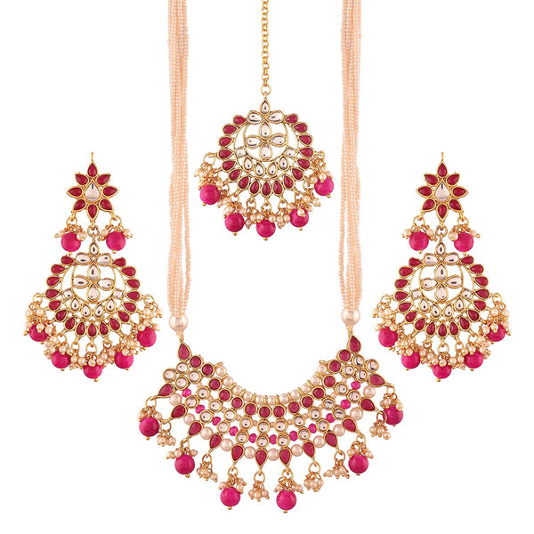 I Jewels Gold Plated Traditional Kundan Pearl Necklace Set with Earrings & Maang Tikka for Women ( K7065Q)