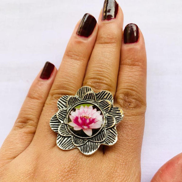 NitAgni Oxidised Silver Lotus Ring