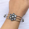 NitAgni Oxidised Silver White rhinestone floral Bangle