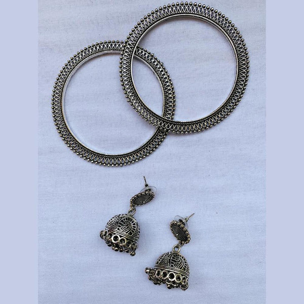 NitAgni Oxidised Silver Jhumka and Bangle Combo