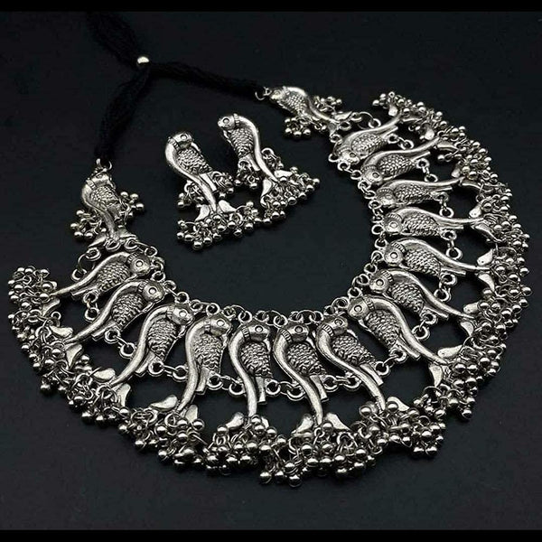 NitAgni Oxidised Silver Matsya Choker Necklace Set