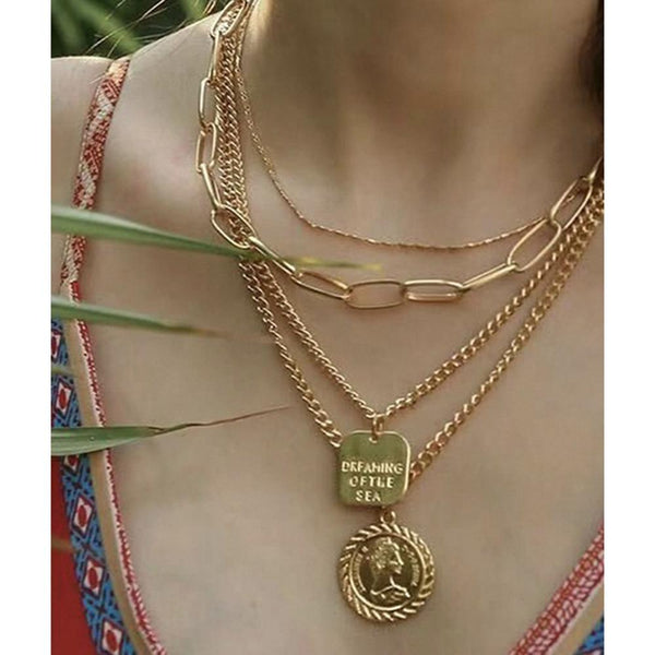 NitAgni Gold stacks chain Necklace