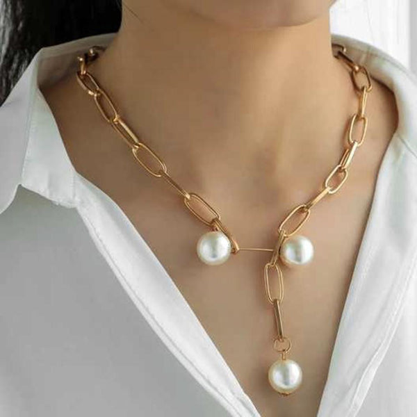 NitAgni Gold chain with Pearls Necklace