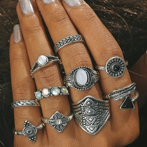 NitAgni Antique silver Rings set
