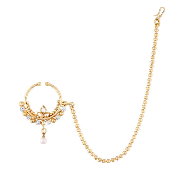 I Jewels Traditional Gold Plated Nose Ring/Nath with Chain for Women NL06