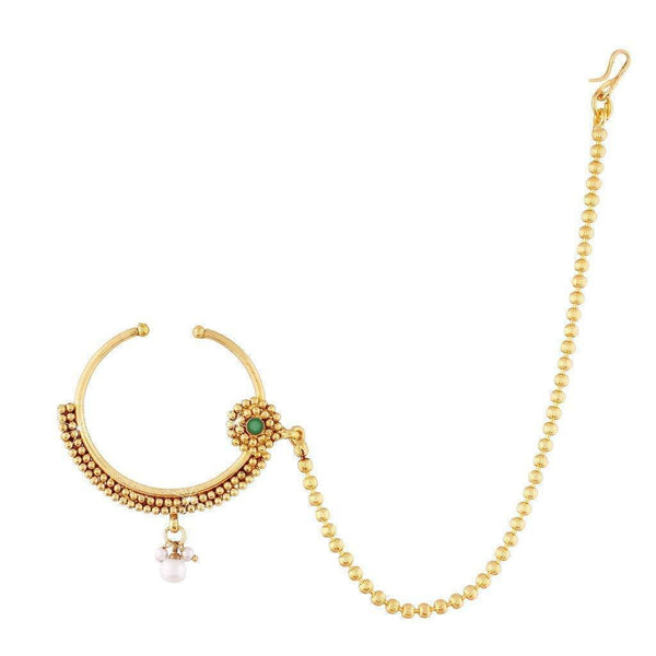 I Jewels Traditional Gold Plated Nose Ring/Nath with Chain for Women (NL09G)