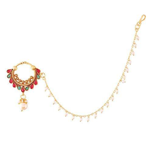 I Jewels Traditional Gold Plated Nose Ring/Nath with Pearl Chain for Women (NL23)