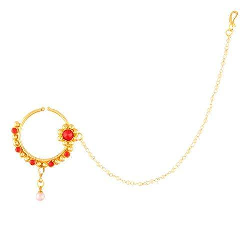 I Jewels Traditional Gold Plated Nose Ring/Nath with Pearl Chain for Women (NL26R)