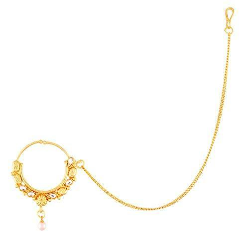 I Jewels Traditional Gold Plated Pearl Kundan Nose Ring/Nath with Chain for Women (NL30W)