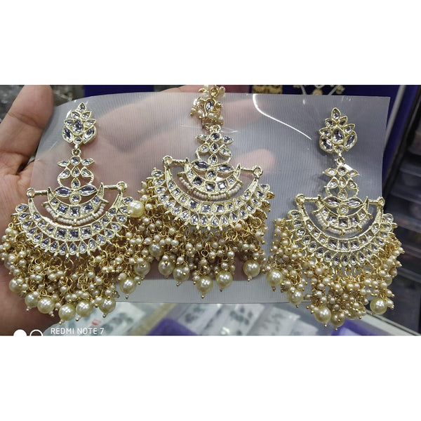 Om Creation  Gold Plated Kundan And Pearl Earrings With Maang Tika  - OmEar99