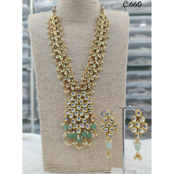 Om Creation Gold Plated Desginer Pearl And Kundan Long Necklace Set  - OmNek09
