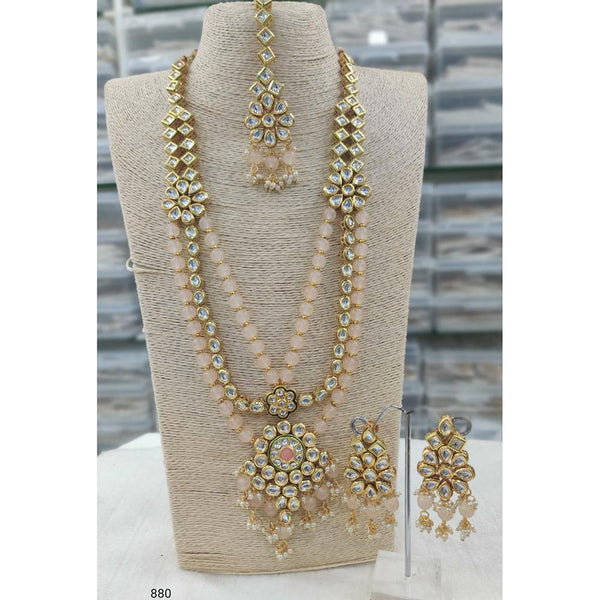 Om Creation Gold Plated Desginer Pearl And Kundan Long Necklace Set  - OmNek10