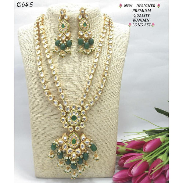 Om Creation Gold Plated Desginer Pearl And Kundan Long Necklace Set  - OmNek11