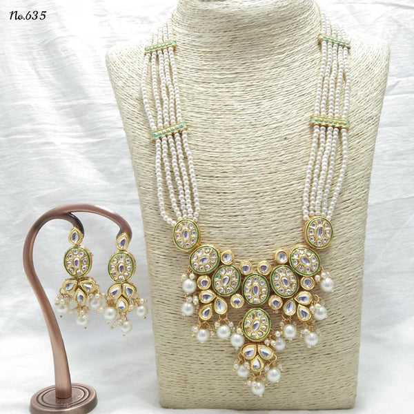 Om Creation Gold Plated Desginer Pearl And Kundan Long Necklace Set  - OmNek14