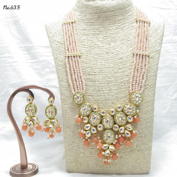 Om Creation Gold Plated Designer Pearl And Kundan Long Necklace Set  - OmNek15