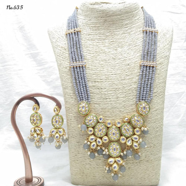 Om Creation Gold Plated Desginer Pearl And Kundan Long Necklace Set  - OmNek16