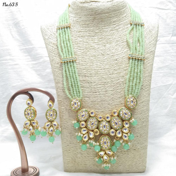 Om Creation Gold Plated Desginer Pearl And Kundan Necklace Set  - OmNek19