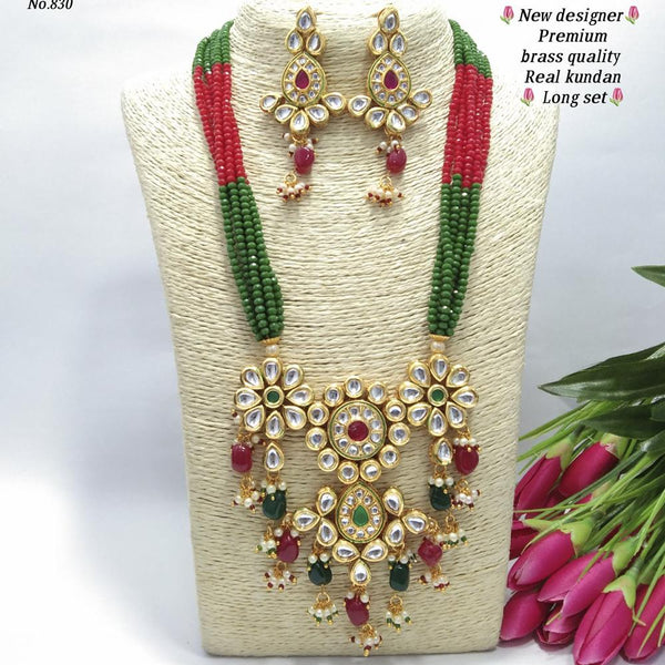 Om Creation Gold Plated Desginer Pearl And Kundan Long Necklace Set  - OmNek21
