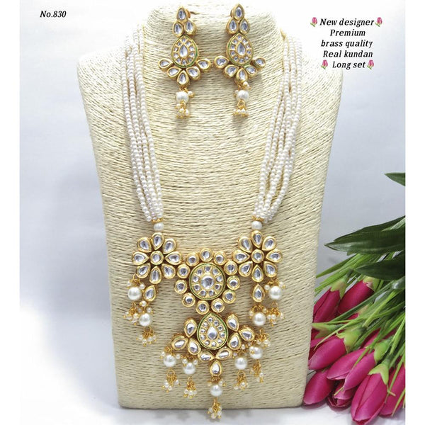 Om Creation Gold Plated Desginer Pearl And Kundan Long Necklace Set  - OmNek22