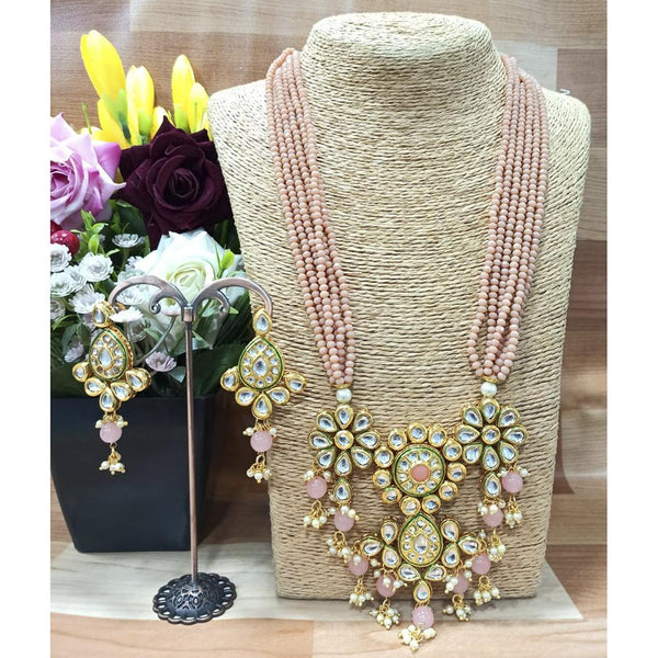 Om Creation Gold Plated Desginer Pearl And Kundan Long Necklace Set  - OmNek23