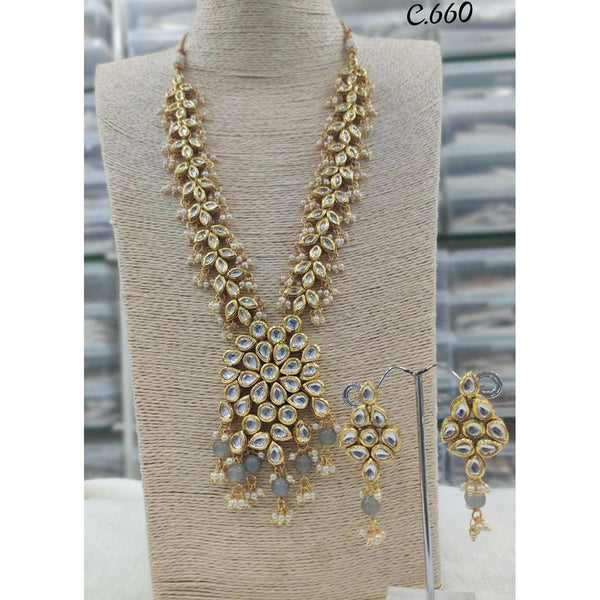 Om Creation Gold Plated Desginer Pearl And Kundan Long Necklace Set  - OmNek24