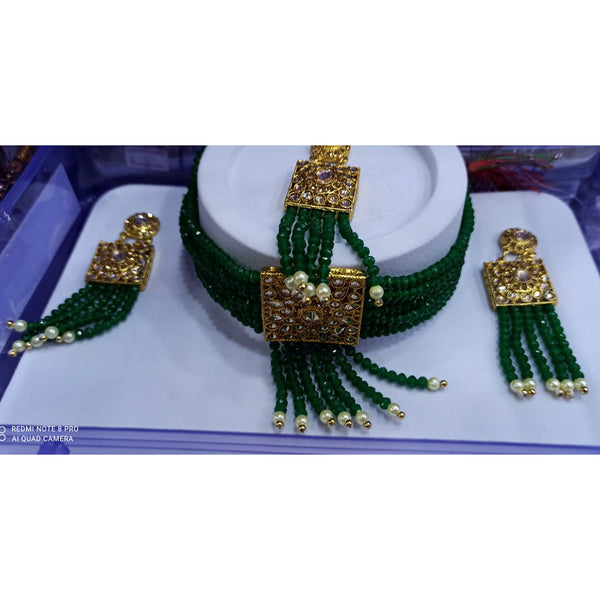Om Creation Gold Plated Green Beads And Kundan Necklace Set With Maang tikka - OmNek38