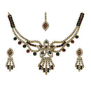 Kriaa Red Stone Floral Necklace Set With Maang Tikka