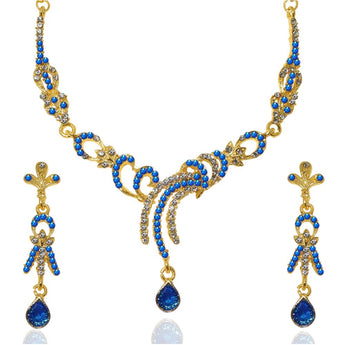The99Jewel Blue Austrian Stone Gold Plated Necklace Set - 1103927