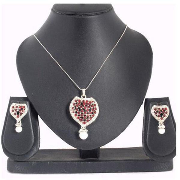 The99Jewel Maroon Austrian Stone Silver Plated Pendant Set - 1200414