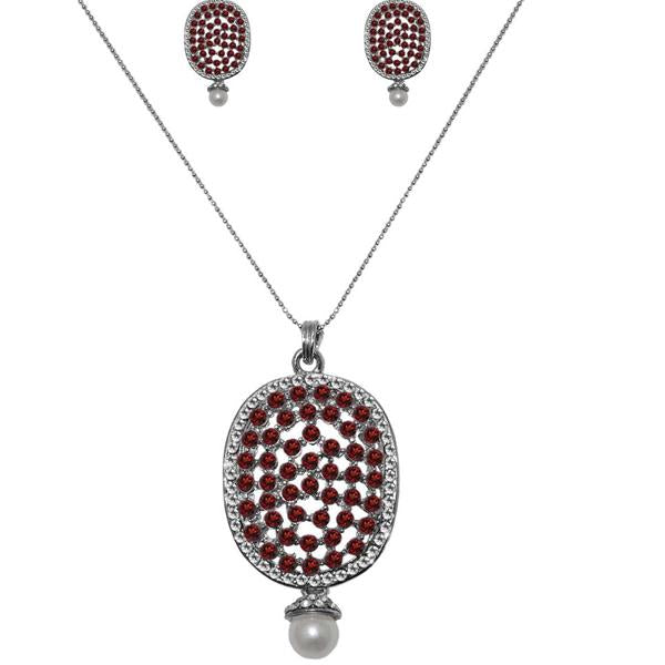 The99Jewel Silver Plated Austrian Stone Pendant Set - 1200426