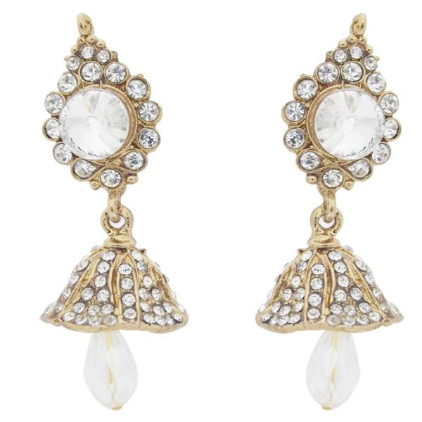 Kriaa White Austrian Stone Drop Gold Plated Jhumki Earrings