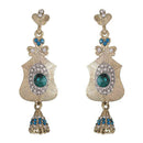 Kriaa Green Austrian Stone Gold Plated Dangler Earring