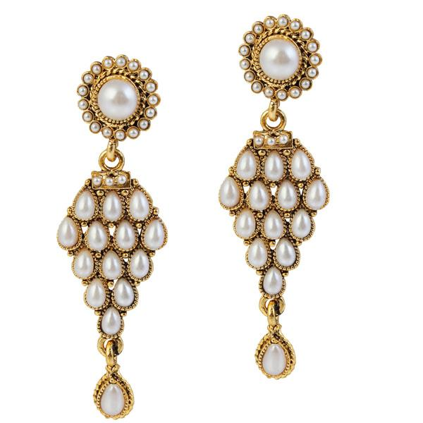 14Fashions Kundan Antique Gold Plated Dangler Earrings - 1304901