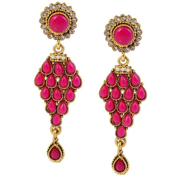 14Fashions Kundan Antique Gold Plated Dangler Earrings - 1304903