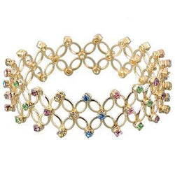 Kriaa Multicolor Austrian Stone Gold Plated Streachable Kada