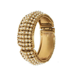 Kriaa Pearl Antique Gold Plated Kada