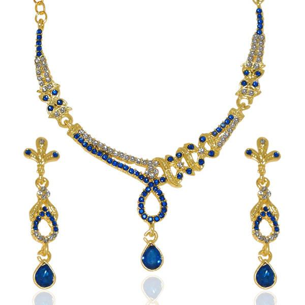 The99Jewel Gold Plated Blue Austrian Stone Necklace Set - 1103914