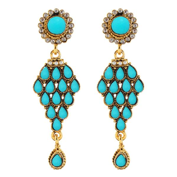 14Fashions Blue Beads Austrian Stone Dangler Earrings - 1304946