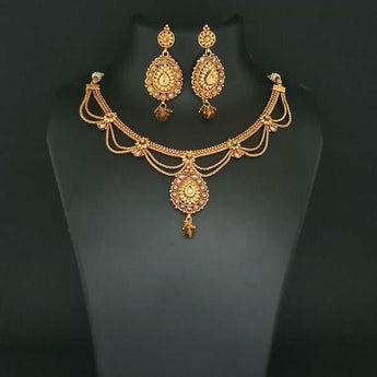 Utkrishtt Brown Austrian Stone Gold Plated Copper Necklace Set - 1108339B
