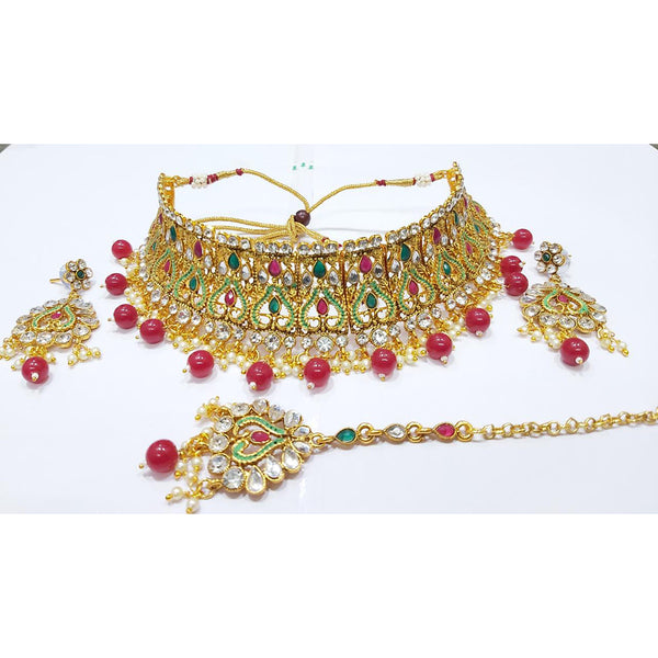 Tip Top Jewellers Maroon & Green Kundan Choker Necklace With Maangtikka