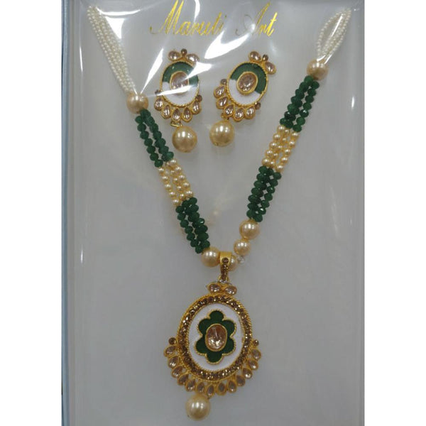 Tip Top Jewellers Gold Plated Brown Austrian Stone And Green Meenakari Necklace Set - TTJNECKLACE05